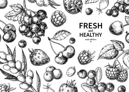 Wildbeerenzeichnung. Hand gezeichneter Weinlesevektorrahmen. Sommerfruchtset