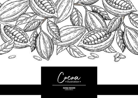 Cocoa frame. Vector super food template. Vetores