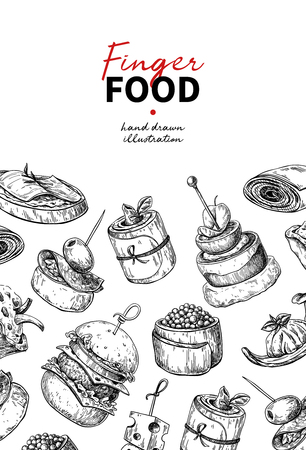 Finger food vector drawing. Catering service template for flyer, banner, poster. Canape and snack engraved illustration. Restaurant or buffet menu. Appetizer sketch. Illustration