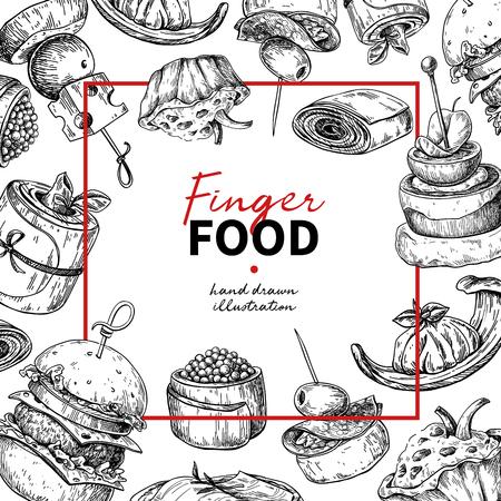 Finger food vector frame drawing. Catering service frame template for flyer, banner, poster. Canape and snack engraved illustration. Restaurant or buffet menu. Appetizer sketch. Illustration