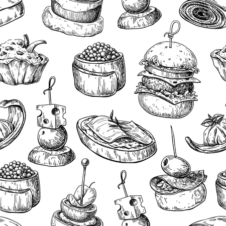 Finger food vector seamless pattern. Food appetizer and snack sketch. Canapes, bruschetta, sandwich drawing for buffet, restaurant, catering service. Tapas engraved illustration. Great for banner, poster, label