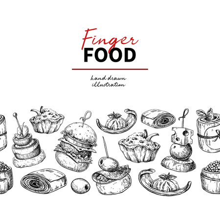 Finger food vector drawing. Catering service template for flyer, banner, poster. Seamless pattern. Canape and snack engraved illustration. Restaurant or buffet menu. Appetizer sketch.