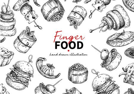Dibujo de marco de vector de comida con los dedos. Plantilla de marco de servicio de catering para flyer, banner, poster. Canapé y snack ilustración grabada. Menú de restaurante o buffet. Boceto de aperitivo. Ilustración de vector
