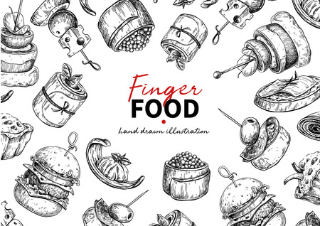 Finger food vector frame drawing. Catering service frame template for flyer, banner, poster. Canape and snack engraved illustration. Restaurant or buffet menu. Appetizer sketch.  イラスト・ベクター素材