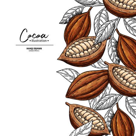 Cadre en cacao. Gravure de fruits, de feuilles et de haricots. Vecteurs