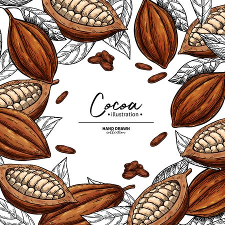 Cadre en cacao. Gravure de fruits, de feuilles et de haricots.