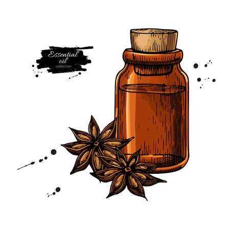 Bottiglia di olio essenziale di anice stellato e mucchio di spezie.