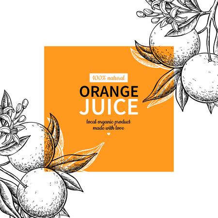 Orange label  drawing. Ilustração