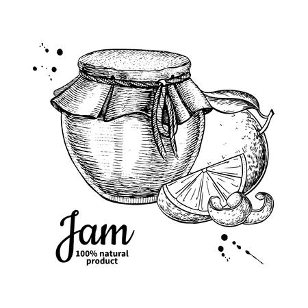 Orange jam glass jar Illustration