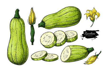 Isolated Vegetable objects with sliced pieces and flower. Ilustração