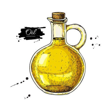 Oil bottle drawing on white