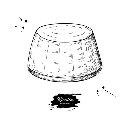 Ricotta cheese drawing. Vector hand drawn food sketch. Engraved milk product illustration. Çizim