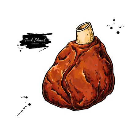 Pork shank vector drawing. Pig leg meat hand drawn sketch. Food illustration Illustration
