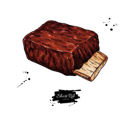 Dessin vectoriel de côtes courtes. Croquis dessiné à la main de viande de boeuf, de porc ou d'agneau. Illustration de la nourriture.