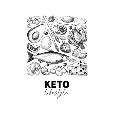 Keto diet vector drawing. Ketogenic hand drawn template.