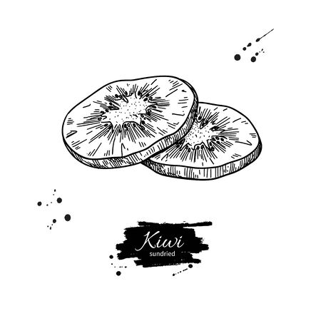Dried kiwi chips vector drawing. Hand drawn dehydrated fruit ring illustration. Healthy vegan raw food snack. Sketch of granola, cereals and oat milk ingredient.