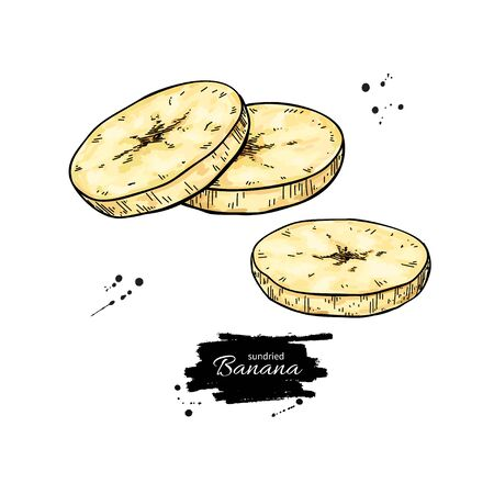 Dried banana chips vector drawing. Hand drawn dehydrated sliced fruit illustration.