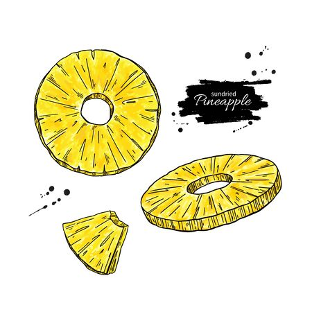 Dried pineapple chips vector drawing. Hand drawn dehydrated fruit ring and slices.