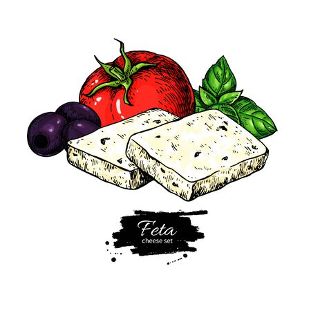 Greek feta cheese block slice drawing. Vector hand drawn food sketch with olive, basil, tomato. Иллюстрация