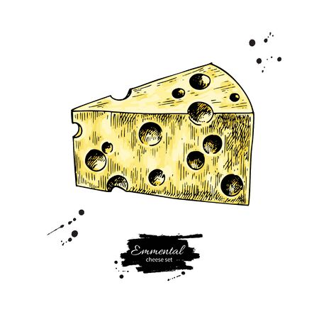 Emmental cheese drawing. Vector hand drawn food sketch. Triangle slice cut. Farm market product for label, poster, icon, packaging. Dairy vintage product Иллюстрация