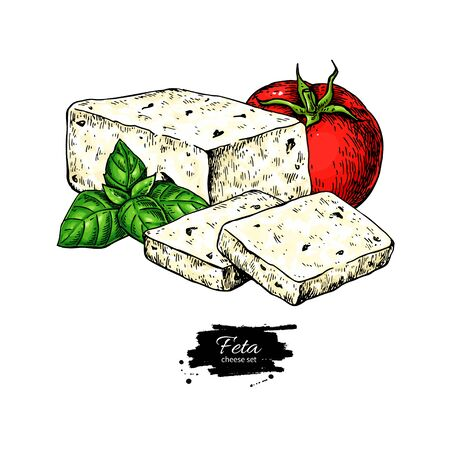 Greek feta cheese block drawing. Vector hand drawn food sketch with basil, tomato.