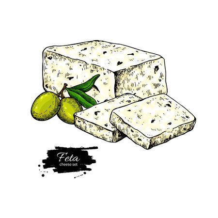 Greek feta cheese block drawing. Vector hand drawn food sketch with olive.