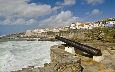defended: Cannon which defended the Ericeira Stock Photo