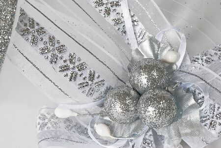blanch: silver christmas balls on blanch decorative background Stock Photo