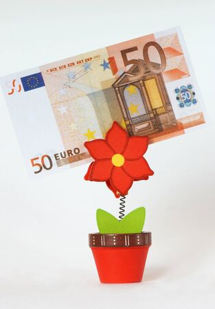 50 euro: 50 euro in Business card holder in the form of a flower on a white background Stock Photo