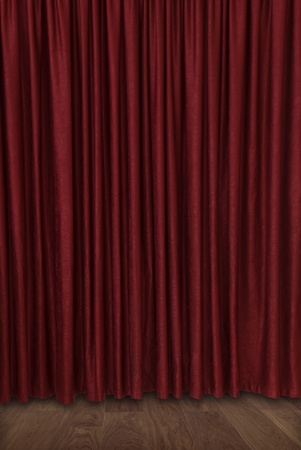 backstage: closed velvet theater curtain Stock Photo