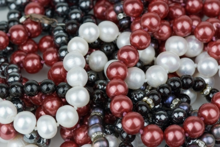 freshwater pearl: background of colorful necklaces
