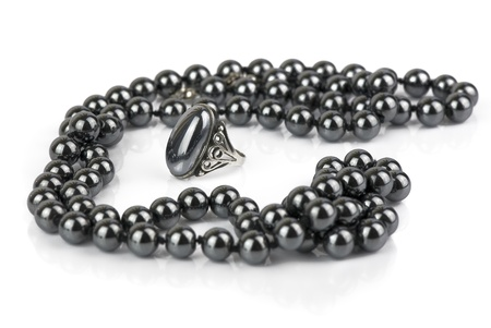 argent: glossy black beads and a ring made of natural hematite Stock Photo