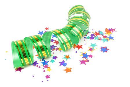confetti background: confetti and ribbon on white background