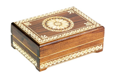 wooden box decorated with an ornament of straw Stock Photo - 21217935