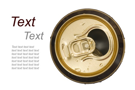 opened golden beer can on white background, view from the top