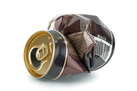 Crumpled empty beer can on white background Stock Photo