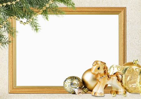 christmas horse: Christmas frame on the background of old paper Stock Photo