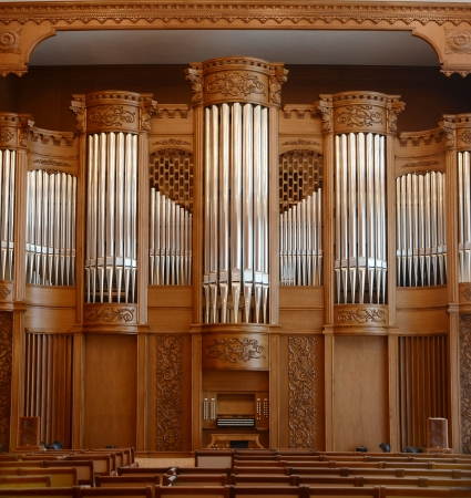 Organ hall with carved wooden trim