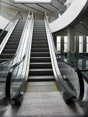empty escalator in new modern building