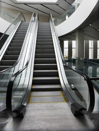 empty escalator in new modern building