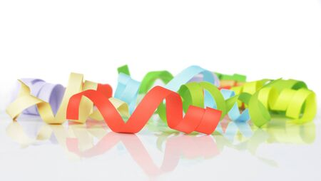 party streamers: colorful streamers on a white background Stock Photo