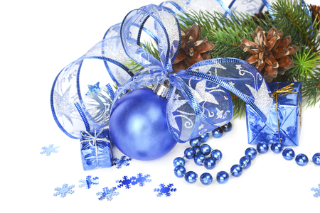 Christmas composition with blue Christmas ball on a white background photo
