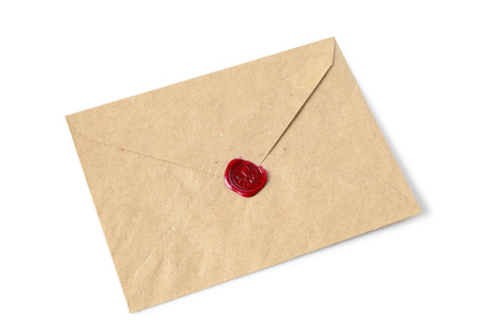 beeswaxseals: Old envelope with wax seal on a white background