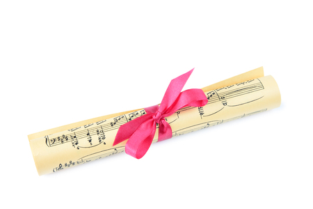 bundle of letters: Yellowed scroll with notes tied with a bow