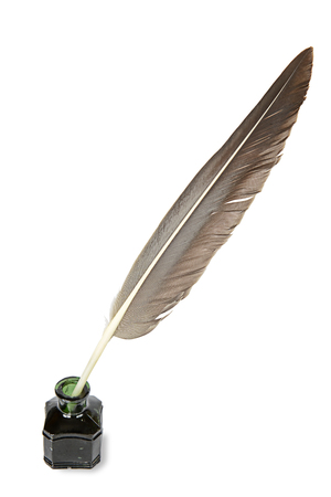 quill pen: Taupe quill in the inkwell on a white background