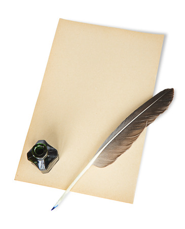 quill pen: Feather, ink and blank sheet of old paper on a white background
