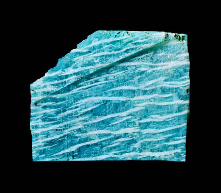 amazonite: Piece striped green and white amazonite on a black