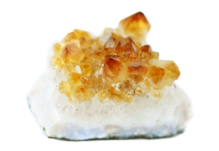 Several crystals of citrine gemstone on white  Фото со стока