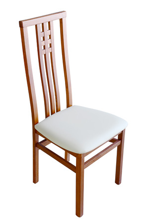 upholstered: Wooden chair isolated on white with upholstered seat Stock Photo