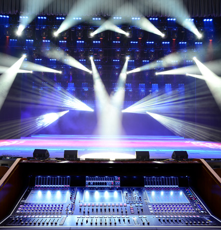 Working sound panel on the background of the concert stage